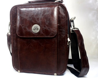 Vintage Leather Shoulder Bag.  Turkish Miner Bag Leather Handbag. Dark Brown Leather Shoulder Bag. Cross Body Bag.  Gift for Mother, Father