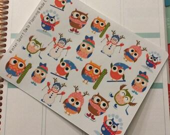 Winter Sport Owl Stickers! Perfect for your Erin Condren Life Planner, calendar, Paper Plum, Filofax!