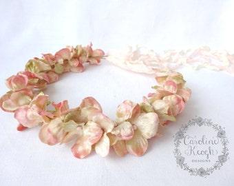 Antique Pink Velvet Hydrangea Flower Crown