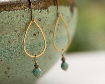 Antique Brass Aqua Teardrop Earrings, Delicate Teardrop Earrings, Boho Earrings, Aqua and bronze, brass geometric earring, small gift