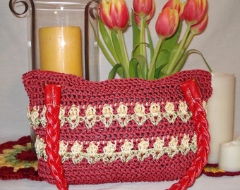 Tulips Crocheted Purse PATTERN | Crocheted Bag | Handbag | Shoulder Bag | Accessory | Tulip Motif | Zippered Purse | Crochet Pattern