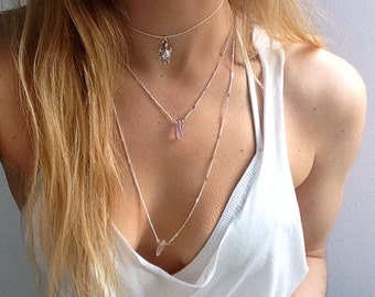 Lucinda. Crystal choker. Crystal necklace. Dainty crystal chip silver choker necklace.Amethyst rose quartz lapis by Serenity Project