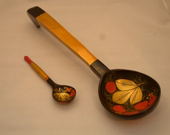 Vintage Russian Wooden Spoons Khokhloma Painting Old Retro