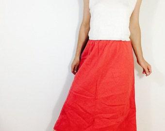 Vintage linen skirt linen midi skirt red skirt vintage red linen skirt vintage natural skirt long linen skirt long vintage skirt size M red