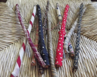 Primitive Americana Sticks/Fabric Wrapped/1776/July 4th