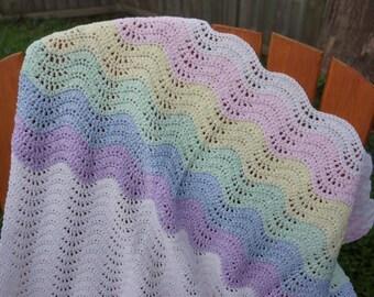 PATTERN ONLY Crochet baby blanket pattern, crochet ripple wave chevron pattern, crochet any size blanket pattern, crochet ripple afghan