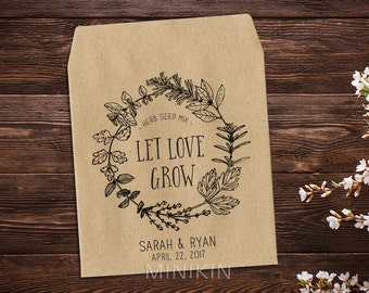 Herb Seed Packets, Personalized Seed Packet, Seed Favor, Wedding Favor, Seed Envelope, Seed Packet, Let Love Grow Favor, Rustic Wedding x 25