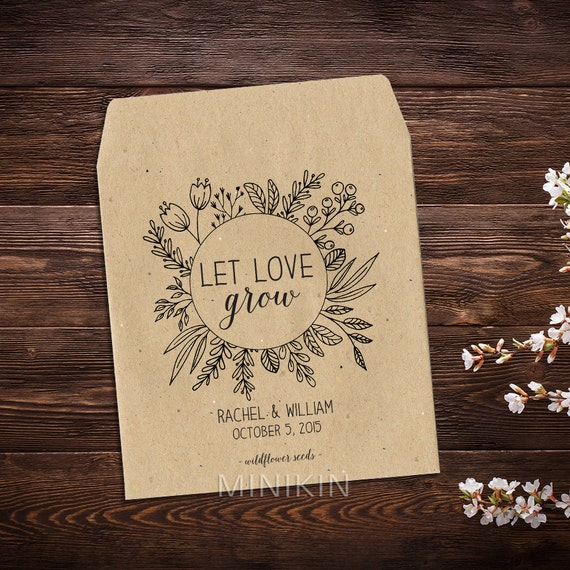 Wedding Seed Packets, Personalized Favors, Wedding Favours, Seed Envelopes, Seed Packets, Let Love Grow, Seed Favors, Rustic, Eco, Thank You