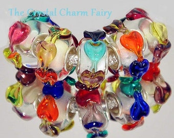 HEARTS / LOVES Goes AROUND Murano Glass European Charm Bead / Big Hole European Beads Fits / Pandora / European / Bracelets / Necklace