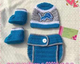 Crochet Baby Detroit Lions Diaper Cover Set/Baby Football/Newborn Baby/Baby Boy/Baby Girl/Newborn Photo prop/Baby Shower Gift/MADE2ORDER