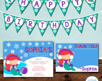 Mermaid Winter Pool Party Package, Winter Pool Party Birthday Invite, Mermaid Pool Party