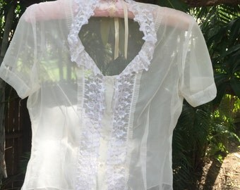 Vintage 60s sheer lace blouse