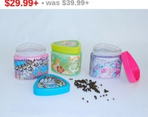 Glass Jars with Lids, Jars of Spices, Decoupage Jars, Cookie Jar, Glass Box, Coffee Jar, Kitchen Decor, Container for Storing Art Spices.