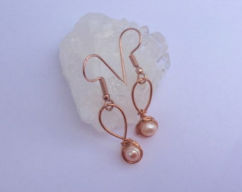 White Pearl and Copper Drop Earrings