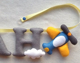 Planes/Clouds Name Banner-Felt Letters-Name Garland-Nursery Decor-Made to order