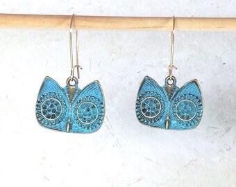 Bohemian earrings boho chic earrings verdigris earrings blue patina earrings  owl earrings  rustic earrings  bohemian jewelry gift for her