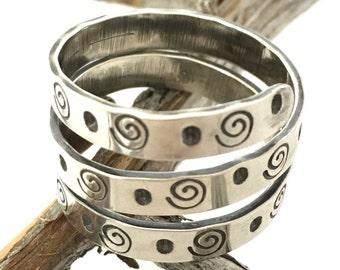 Sterling silver triple wrap ring