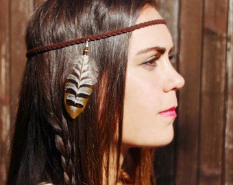 "headband ""squaw"" - braided leather headband -feathers headband - boho brown headband - hair accessorie - hippie headband -festivals hearband"