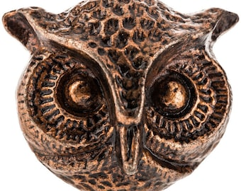 New Set 2 OWL Knobs Copper Color Hammered Metal Handle Pull Embossed