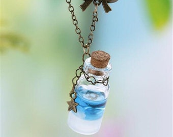 Necklace maritime sea ocean shells pendant glass bottle