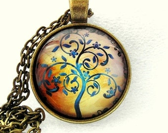 Cabochon necklace tree of life