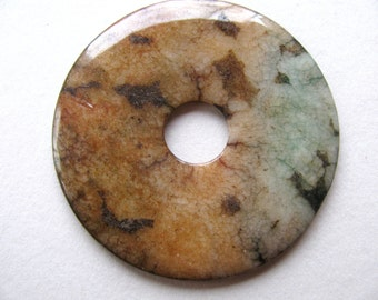 Moss Agate pendant, 53mm in diameter, 4mm thick, green, tan, brown, Jewelry supply - 430