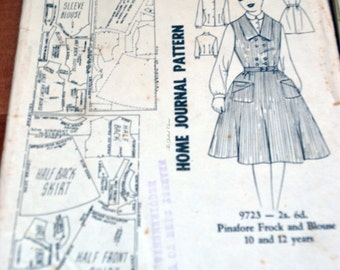 Home Journal pattern, no 9723, pinafore frock and blouse. 10 to 12 years, paper pattern