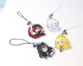 Ruby, Weiss, Blake, Yang - RWBY Hand-Drawn Double Sided Front & Back Acrylic Charms with Phone Strap
