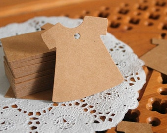 100 Blank Dress Kraft Tags - Brown Paper Tags with String