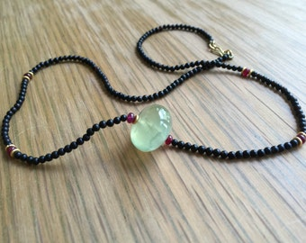 Necklace with Ruby ,Onyx and Prehenite Crystalls