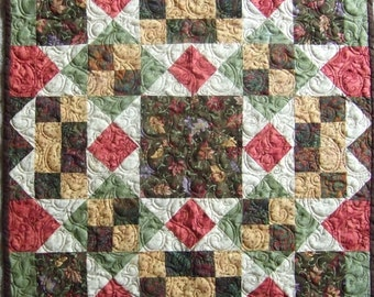 Square It Up quilted table topper; handmade quilt, professionally quilted;
