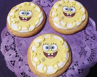 12 Yellow Spongebob or Patrick  cookies sugar cookies