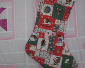 Christmas stocking in vintage cotton print red, green, white