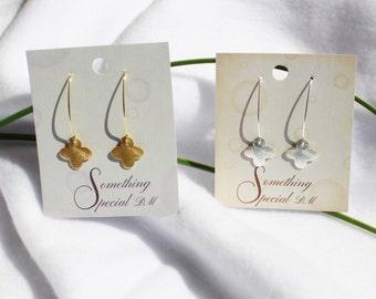 "Quatrefoil Earrings, Clover Earrings, Small Closed Quatrefoil or Clover Earrings 3/5"" Diameter In Gold and Silver"