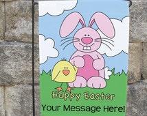 Happy Easter Custom Garden Flag, Easter Garden Flag, Easter Personalized Garden Flag