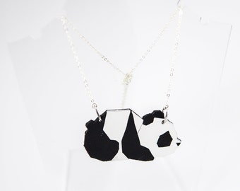 Leather and silver Panda origami necklace