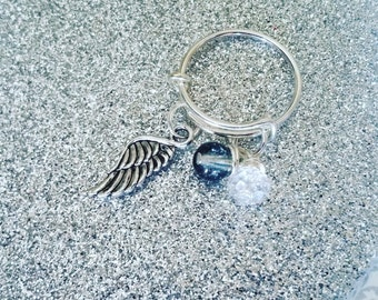 Charm ring angel wing stackable expandable ring