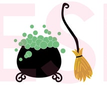 Witches cauldron and broom, Halloween SVG, DXF, EPS, cutting files for use with Silhouette Studio & Cricut Design space.