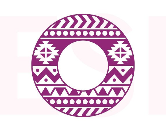 circle monogram frames aztec svg dxf and eps vinyl cut files for use with silhouette cameo and cricut explore machines - Monogram Frames