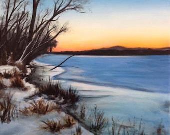 Original Acrylic Landscape, original painting, landscape painting, landscape art, winter art, winter painting, lake painting