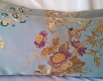 Kravet Couture Summer Palace Lampas Pillow 12x26 Scalamandre Pisanello Violet Silk Velvet Back, Lumbar