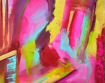 Fire and Ice - Original 18 x 24in abstract acrylic painting canvas art neon pink green purple blue gold peach contemporary impressionist