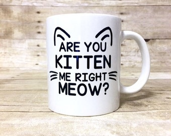 Are You Kitten Me Right Meow? Funny Custom Cat Themed Coffee Mug.