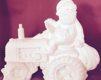 Santa on a John Deer tractor-ready to paint