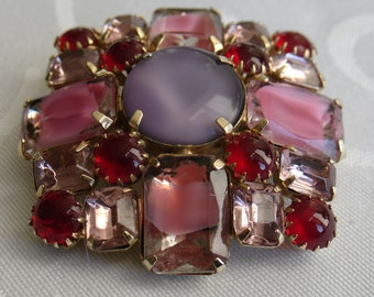 Vintage Large Art Glass Brooch Multicolor Red Violet Pink Gold Tone Setting