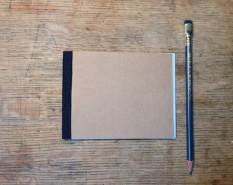 Pocket-Sized Journal Handmade Kraft Cahier - Hand Stitched Recycled Paper Notebook with Cotton Spine