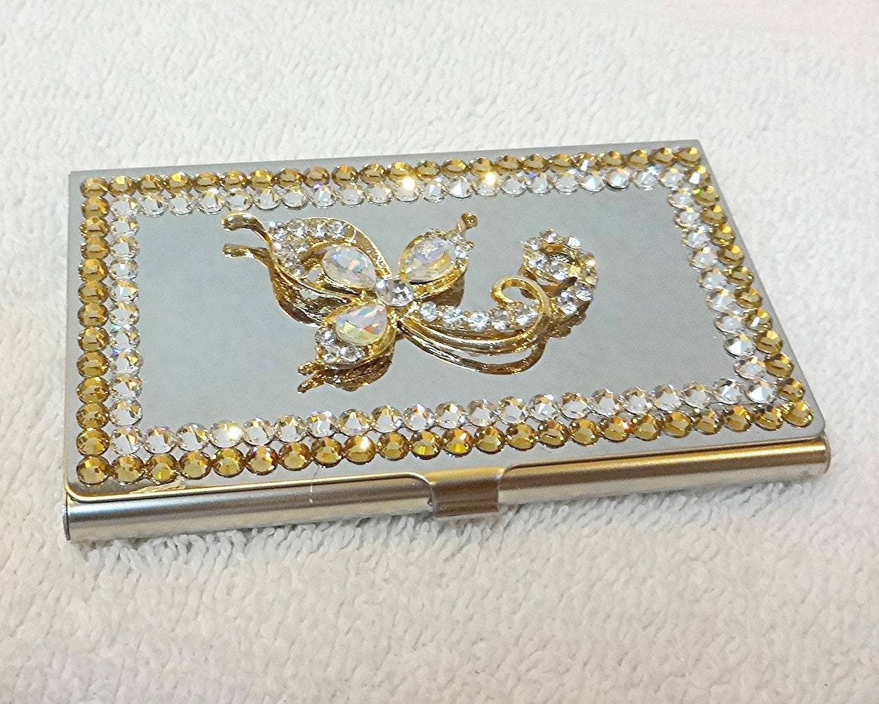 Swarovski business card holder gold and silver rhinestone flower swarovski business card holder gold and silver rhinestone flower business card case gift for colourmoves