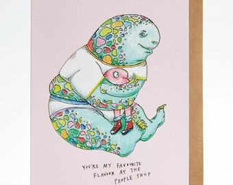 Funny friendship card, Friendship card, boyfriend card, girlfriend card, birthday card, love card, Valentine's card, 'Favourite flavour'