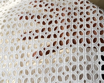 White Eyelet Fabric, Embroidered Eyelet Cotton Fabric by the Yard, fabric for kids dresses, Indian cotton fabrics