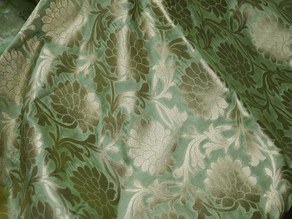 Silk Brocade Fabric By The Yard Pistachio Green Gold Banarasi